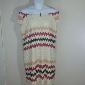 sundress lace midi lined off shoulder ivory stripe